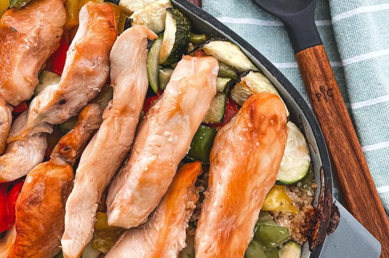 Hähnchenbrust mit Zucchini-Paprika-Gemüse und Couscous