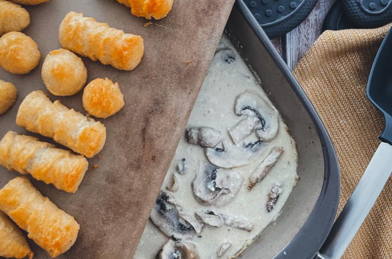 Schweinefilet mit Champignons und Kroketten aus dem Grundset
